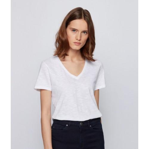 T-shirt col V Hugo Boss Emodern Blanc