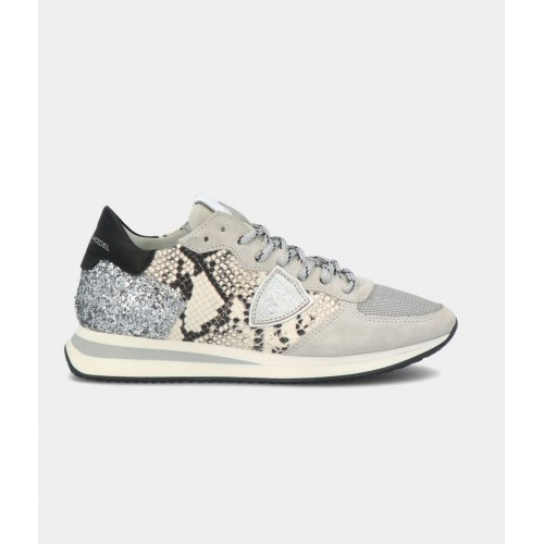 BASKETS PHILIPPE MODEL TRPX PYTHON GLITTER GRIS TZLD PG01